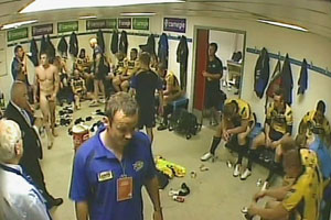 Hidden spy cams capture everything that goes on in the changing room. Unaware they're on camera they kick back, relax and strip off.