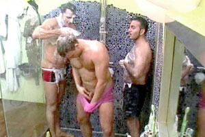 Reality TV stars: Three sexy guys from Big Brother naked and soaping each other up in the shower